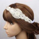 Bridal Clear Rhinestone flower girl prom white ribbon Head hair Headband HR451