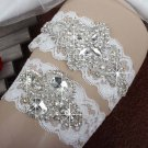 White Wedding Rhinestone applique lace bridal garter set HR411