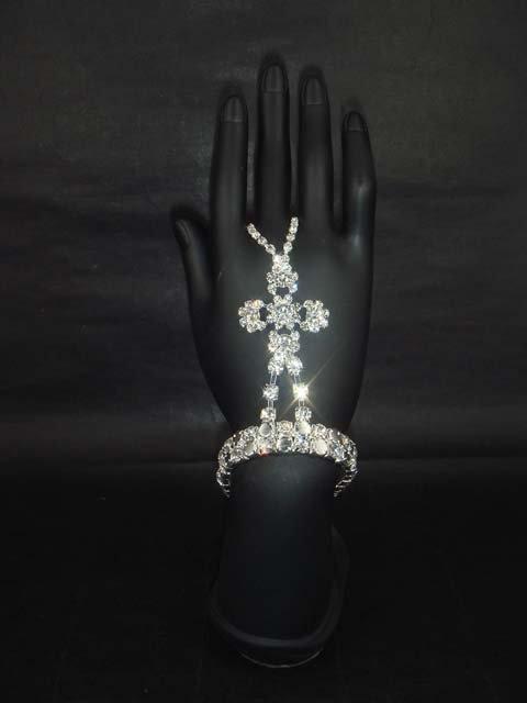 Sexy Silver tone Rhinestone cuff slave Bracelet with ring BR195