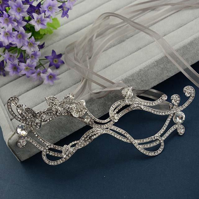 Bridal crystal vintage style Dance party Rhinestone costumes eye mask HR388