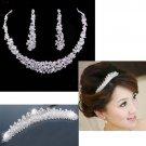3 pc Bridal Rhinestone headpiece Hair headdress Tiara necklace earring RB561