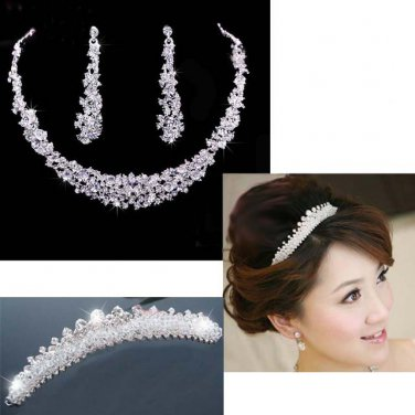 3 pc Bridal Rhinestone headpiece Hair headdress Tiara necklace earring RB561