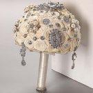 HANDMADE Wedding Brooch Bouquet Artificial Ivory Flower Faux pearl Posy WB29