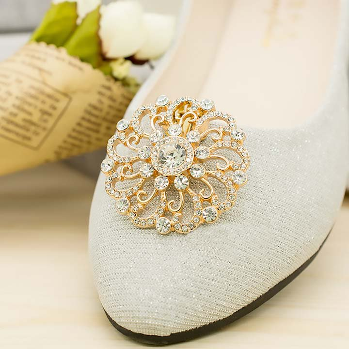 2 pc silver gold pair Bridal Prom Flower Repair Rhinestone Shoe Charm Clips SA52