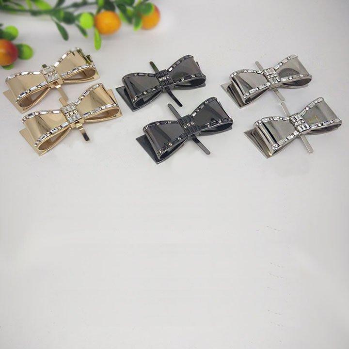 2 pcs Bow silver gold gun metal Repair Rhinestone Shoe Charm Clip SA31