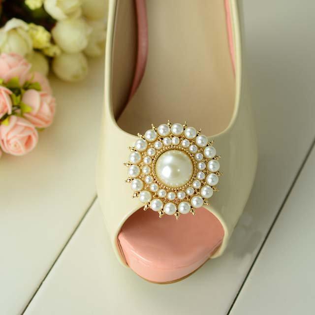 2 pc Round Circle Bridal gold silver tone Repair faux pearl Shoe Charm Clip SA26