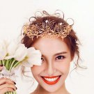 Bridal Gold tone rhinestone vine Baroque style queen head crown tiara HR480