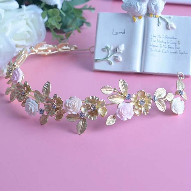 Bridal adjustable Rhinestone leave Flower gold hair Boho-chic headband HR397