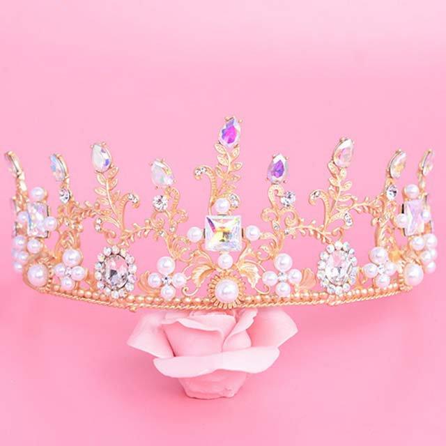 Gold vine Bridal Rhinestone Gold tone AB crystal Prom crown Hair tiara HR415