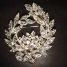Bridal wreath Corsage Czech Clear crystal Rhinestone Brooch pin Pi269