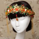 Bridal Chinese gold tone red green bead dangle Hair comb Phoenix Crown RB696