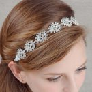 Bridal Clear Rhinestone silver tone party prom ribbon Head hair Headband HR461