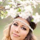 Bridal Faux pearl gold tone  headband Prom Tiara earring set  HR375