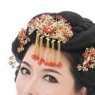 Bridal Red Rhinestone Queen princess dangle gold tone Phoenix Crown comb RB673