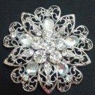 Bridal round elegant gift crystal scarf deco Czech Rhinestone Brooch pin PI604