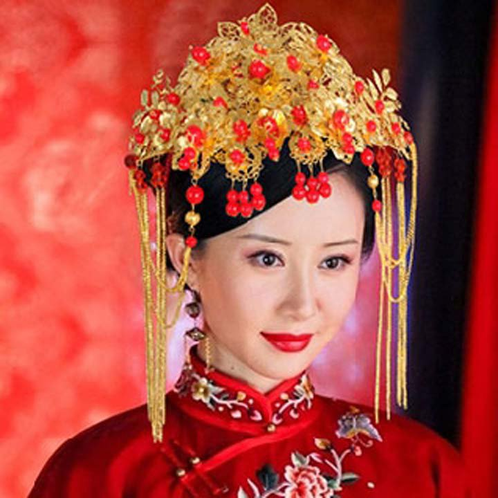 Bridal Chinese gold tone red bead dangle flower Hair comb Phoenix Crown RB695
