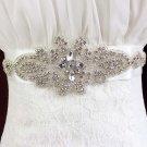 Crystal Bridal white Rhinestone waist Sash Wedding applique Dress Belt HR391