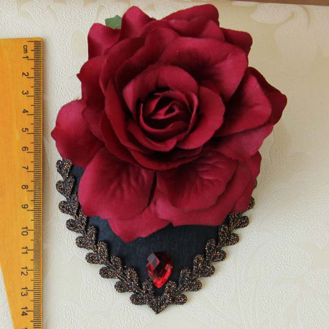 Bridal white dance prom party red flower rose hair Fascinator Hair clip BA215