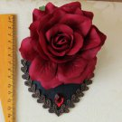 Bridal white dance prom party red flower rose hair Fascinator Hair clip BA215