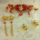 Bridal Chinese gold tone red dangle flower Hair comb Phoenix Crown earring RB693