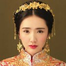 Bridal Chinese gold tone flower forehead band headpiece tiara earring HR456