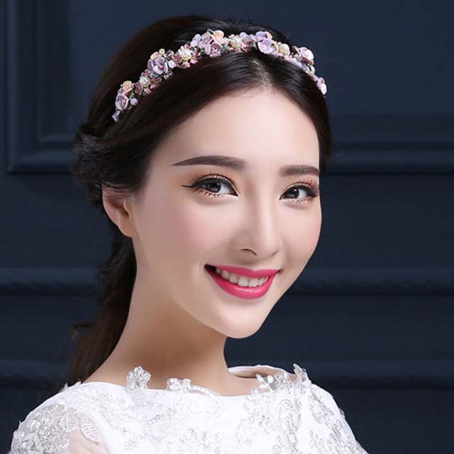Bridal Party flower Colorful Hair Head headband vine prom dance headpiece HR392
