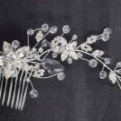 Bridal Clear Rhinestone silver tone  Flower Headpiece head Hair tiara Comb RB591