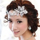Bridal Crystal Rhinestone Faux pearl Flower Headpiece Hair tiara clip RB641C