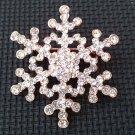 Bridal snowflake Frozen champagne gold Czech Rhinestone Brooch pin PI601