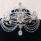 Bridal silver tone prom party crown dange rhinestone queen Hair tiara HR471