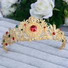 Bridal Rhinestone gold tone queen Red rhinestone head Hair Crown Headpiece HR446
