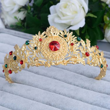 Bridal Rhinestone gold tone queen Red rhinestone head Hair Crown Headpiece HR446