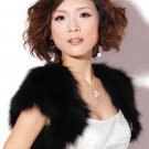 Bridal Faux Fur Shrug Shawl Cape Wrap Black Ivory BOLERO SF120
