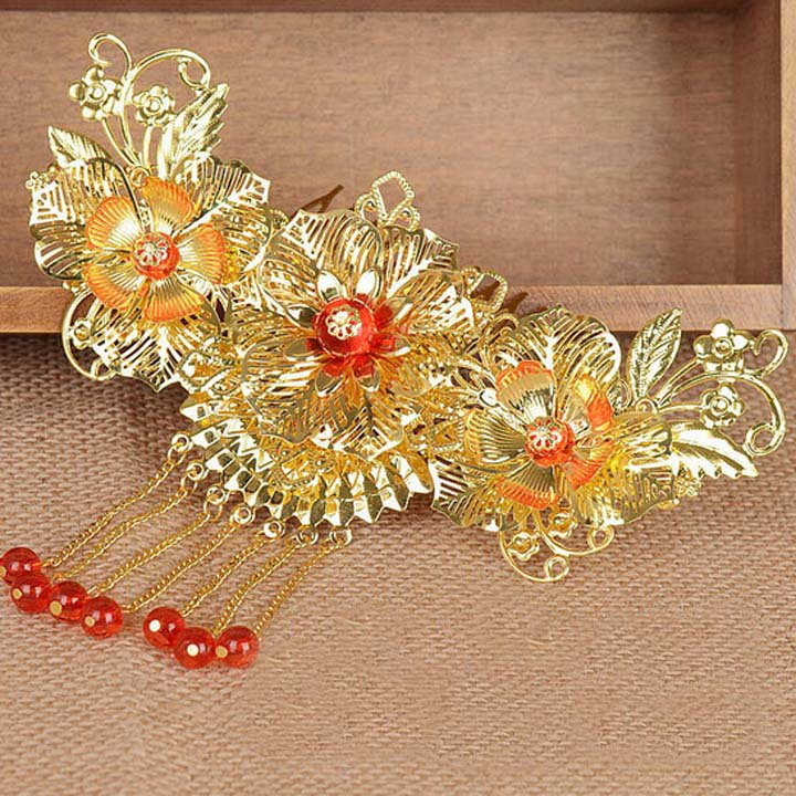 Bridal Chinese gold tone red traditional flower Hair comb Phoenix Crown RB687