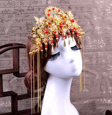 Bridal Chinese gold tone red bead dangle flower Hair comb Phoenix Crown RB690