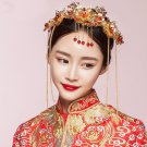 Bridal Chinese gold tone red bead dangle flower Hair comb Phoenix Crown RB689