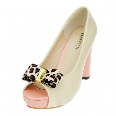 2 pc Bridal pair Faux fur leapard Bow Repair Rhinestone Shoe Charm Clips SA51