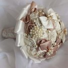 HANDMADE 15-22 cm Wedding Bouquet Ribbon satin Flower rhinestone Posy WB25
