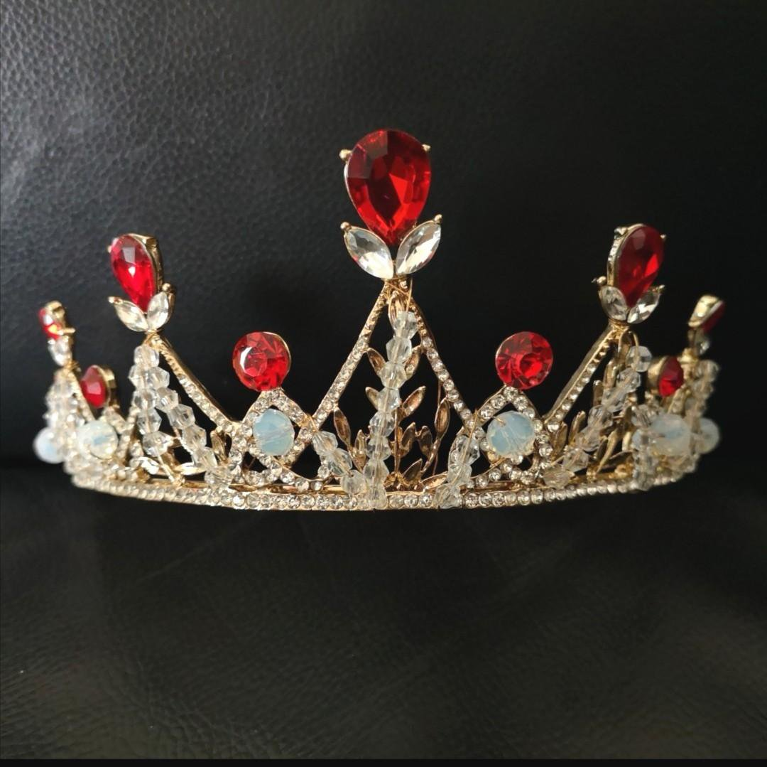 Bridal Queen gold tone Faux pearl Swan Head tiara Crown headband HR462