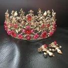 Wedding queen red rhinestone crown