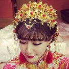 Bridal Chinese gold tone red bead dangle flower Hair comb Phoenix Crown RB722