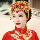 Bridal Chinese gold tone red bead dangle flower Hair comb Phoenix Crown RB727