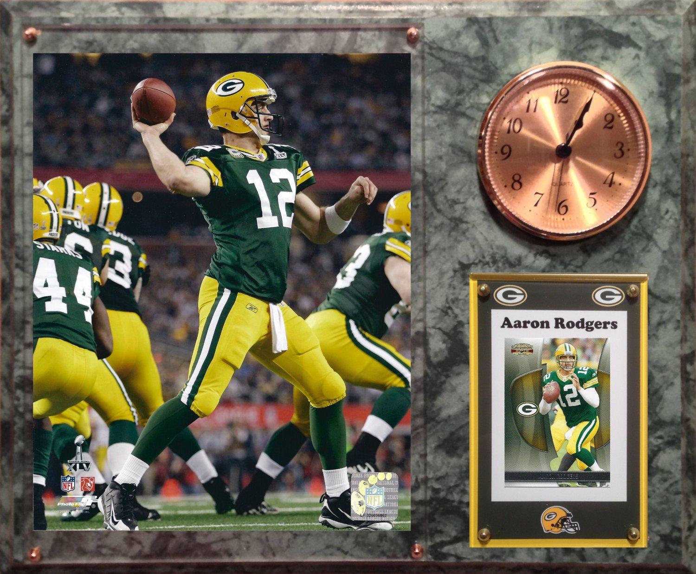 Aaron Rodgers Green Bay Packers Photo Plaque clock.