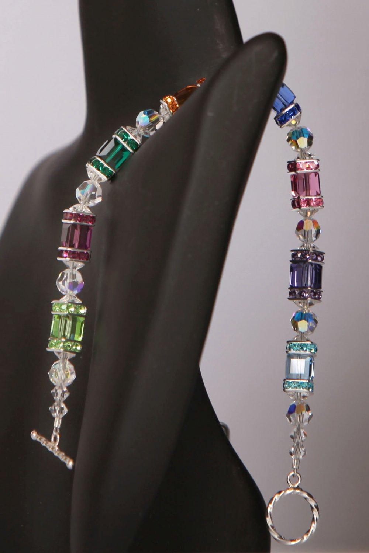 Rainbow Cubed Swarovski Bracelet