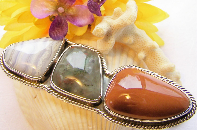 Large Agate, Bloodstone & Tourmaline 925 Silver Pendant