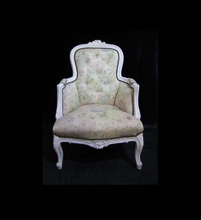 White Washed Floral Wing Chair