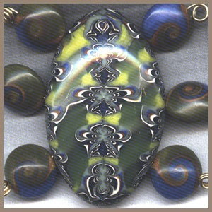 Polymer Clay Dark Blue and Green Bracelet Focal Bead