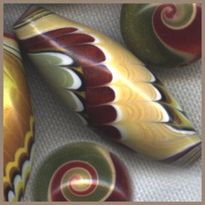 Red, Green, and Gold Polymer Clay Accent Beads