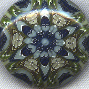 Blue and Chartreuse Polymer Clay Kaleidoscope Pendant