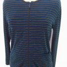 Chico's slinky round neck striped zip top jacket sz 0 S